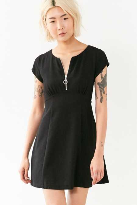 Silence + Noise Zip-Front Crepe Mini Dress