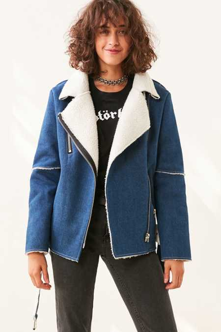 J.O.A. Denim Sherpa Aviator Jacket
