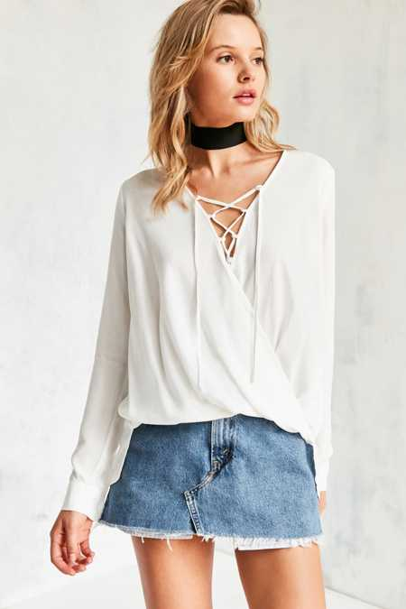 Silence + Noise Lace-Up Surplice Blouse