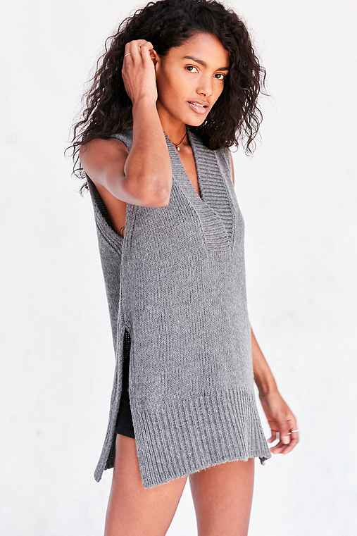 Silence + Noise Deep-V Tunic Sweater Vest,CHARCOAL,S