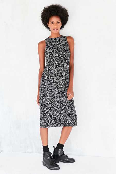 Kensie Face Doodle Crepe Midi Dress