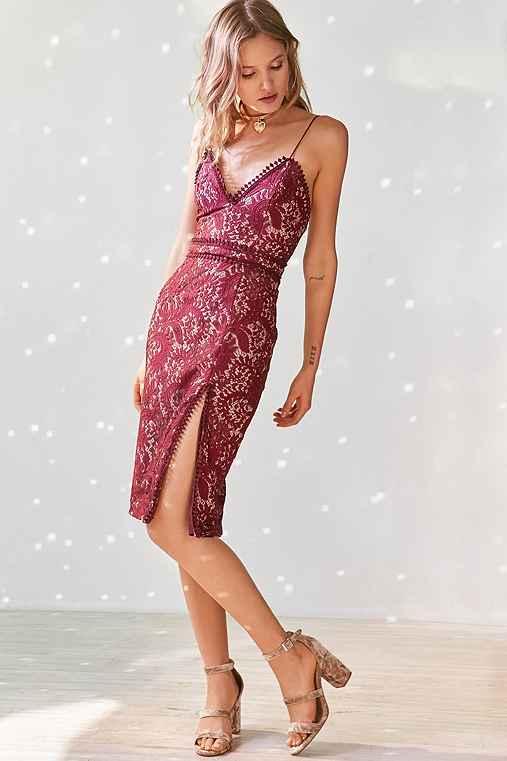 Stylestalker Davis Lace Midi Dress,MAROON,XS