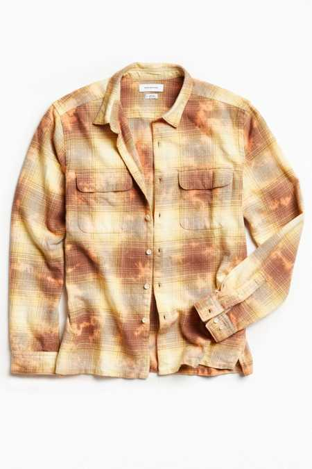 UO Cole Bleached Shadow Plaid Flannel Button-Down Shirt