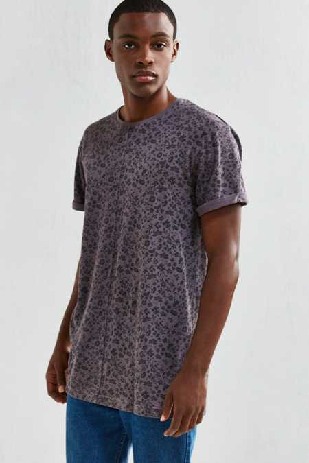 UO Long Print Roll Sleeve Tee