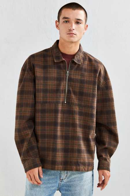 UO 1/4-Zip Plaid Flannel Over Shirt