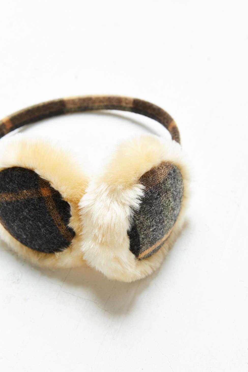 plaid warm ear muffs