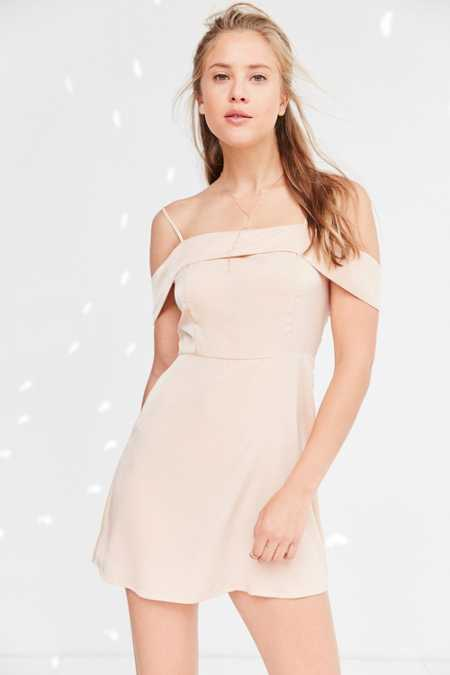 Silence + Noise Satin Off-The-Shoulder Mini Dress