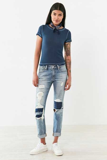 BDG Slim Boyfriend Patched Jean