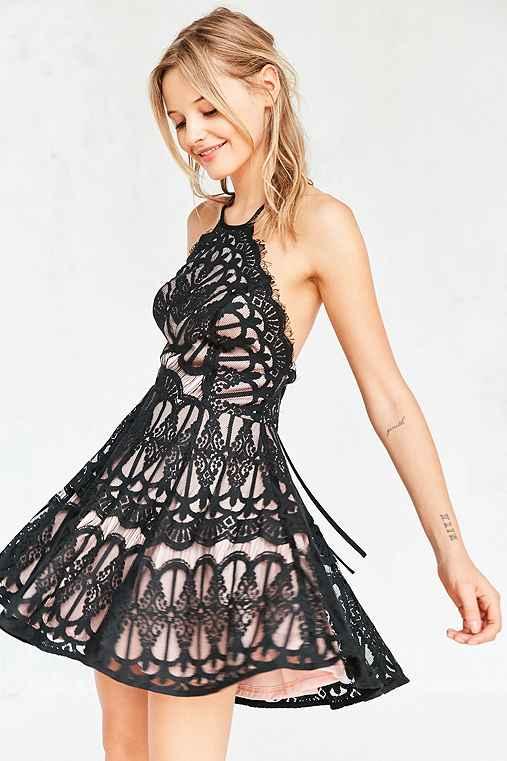 Glamorous Baroque Lace Fit + Flare Mini Dress,BLACK,S