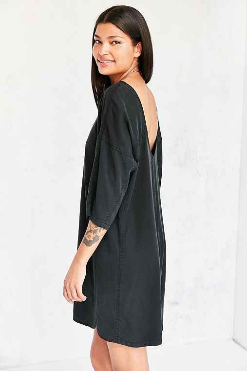 Silence + Noise Washed Mini Sack Dress,WASHED BLACK,L