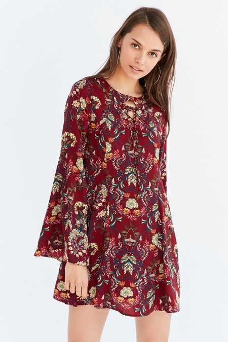 Moon River Floral Lace-Up Bell-Sleeve Mini Dress