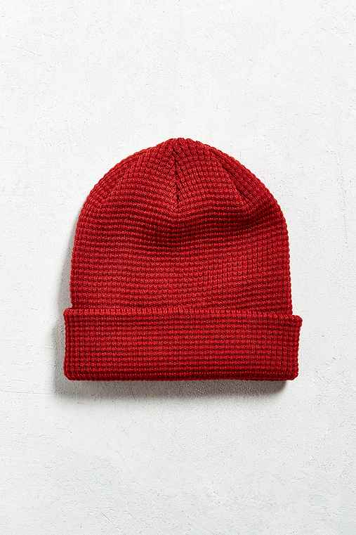 UO Waffle Beanie,RED,ONE SIZE