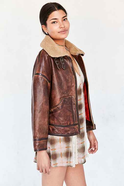 Silence + Noise Smith Worn Leather Aviator Jacket,BROWN,L