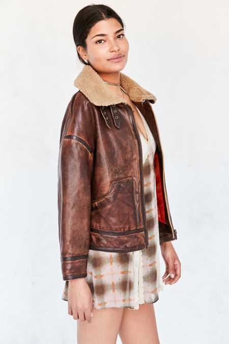 Silence + Noise Smith Worn Leather Aviator Jacket