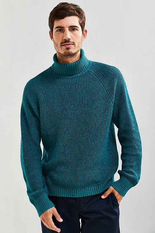 UO Cotton Turtleneck Sweater,GREEN,S