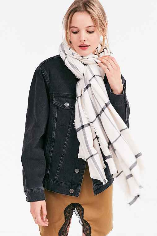 Flannel Plaid Frayed Scarf,IVORY,ONE SIZE