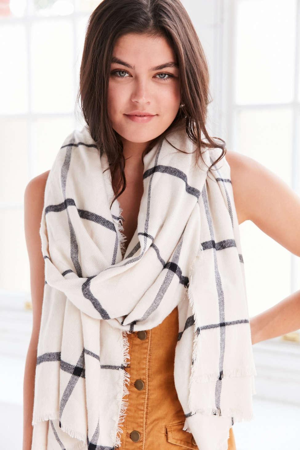 plaid white scarf