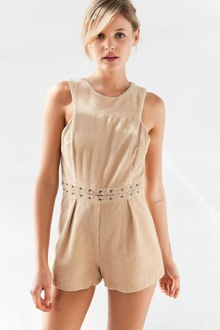 Moon River Lace-Up Waist Corduroy Romper