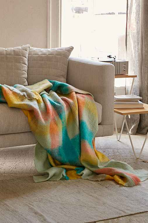 Fireside Plaid Faux Mohair Throw Blanket,MULTI,50X60