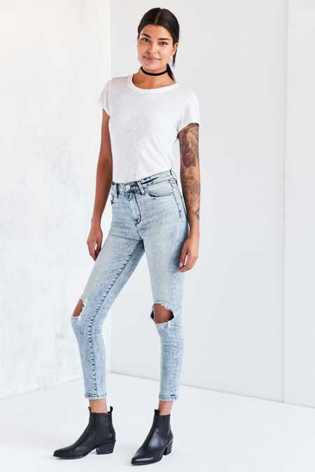 BDG Twig High-Rise Skinny Jean - Acid Wash Slash