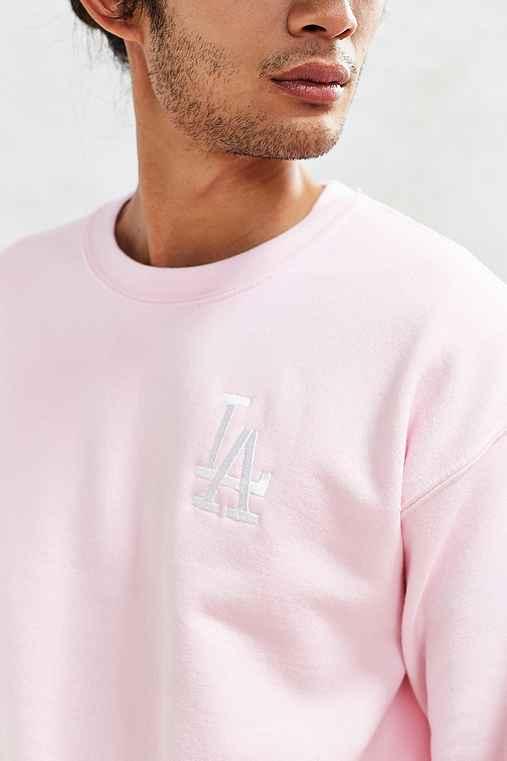 LA Dodgers Embroidered Crew Neck Sweatshirt,PINK,XL