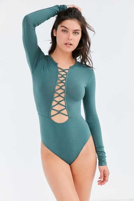 Without Walls Scarlet Lace-Up Bodysuit