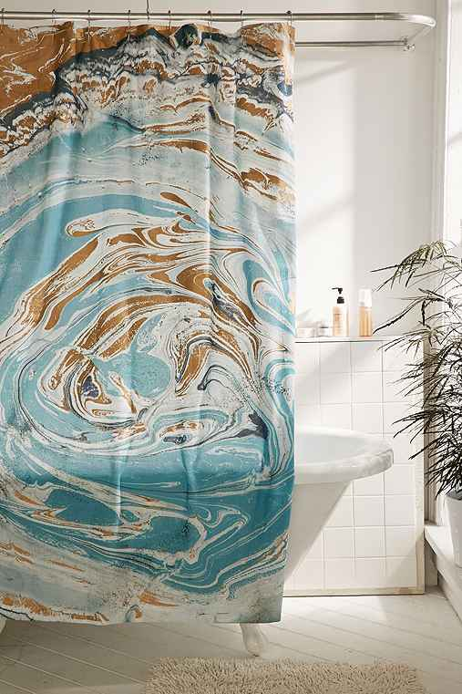 Agate Stone Marble Shower Curtain,BLUE,72X72