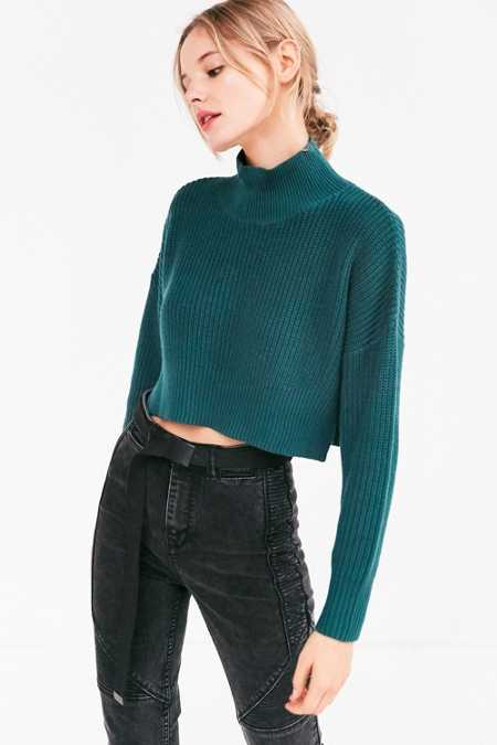 Silence + Noise Cropped Mock-Neck Sweater