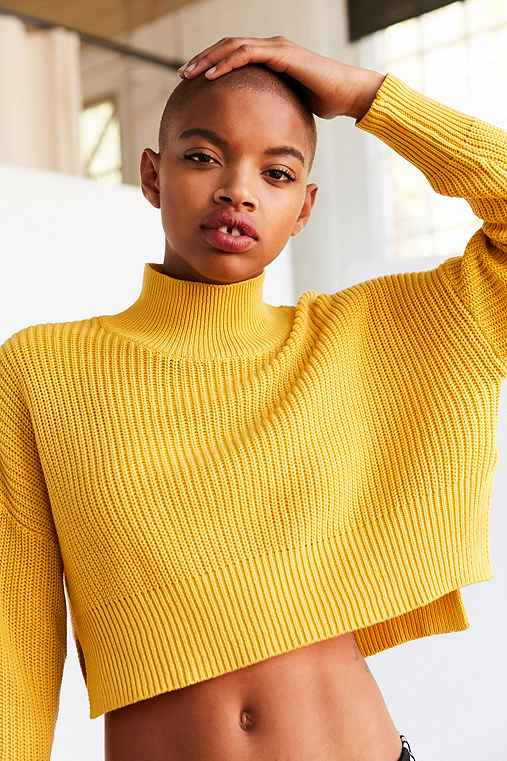Silence + Noise Cropped Mock-Neck Sweater,YELLOW,XS