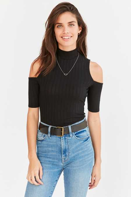 Silence + Noise Annalise Mock-Neck Cold Shoulder Top