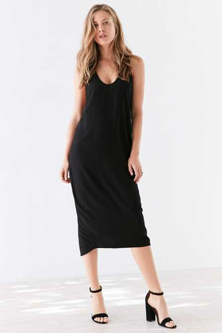 Silence + Noise Scoop Plunge Midi Dress