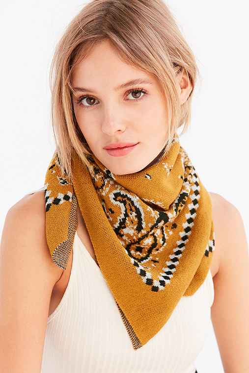 Intarsia Bandana Scarf,YELLOW,ONE SIZE