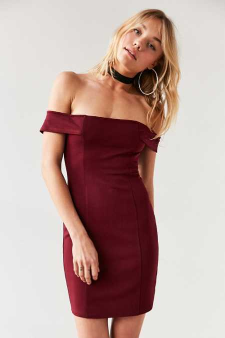 Silence + Noise Structured Off-The-Shoulder Bodycon Mini Dress