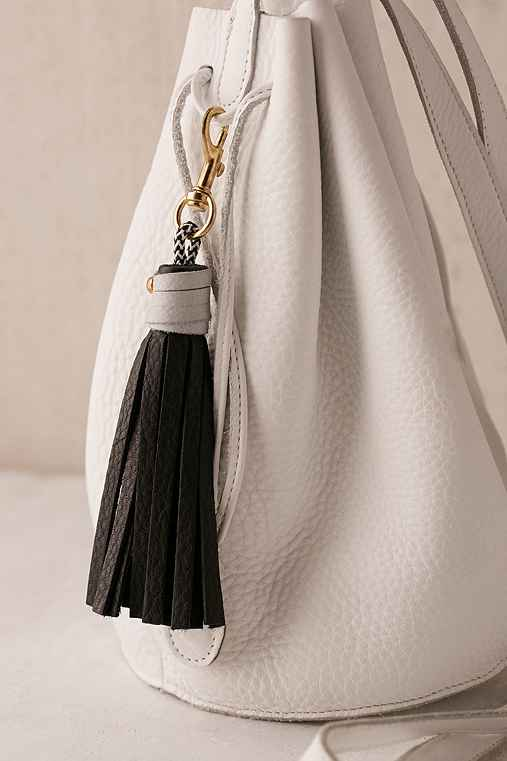 USB Leather Tassel Keychain + Charging Cord,BLACK,ONE SIZE