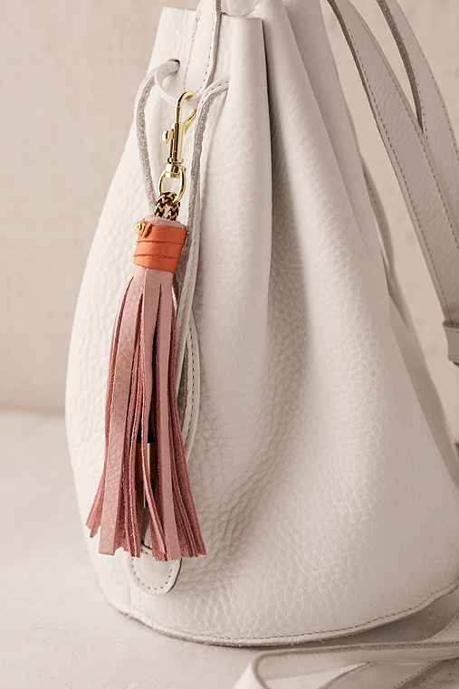 USB Leather Tassel Keychain + Charging Cord,PINK,ONE SIZE