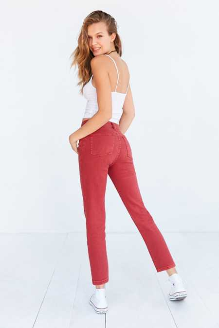 BDG Girlfriend Monochrome High-Rise Jean - Red