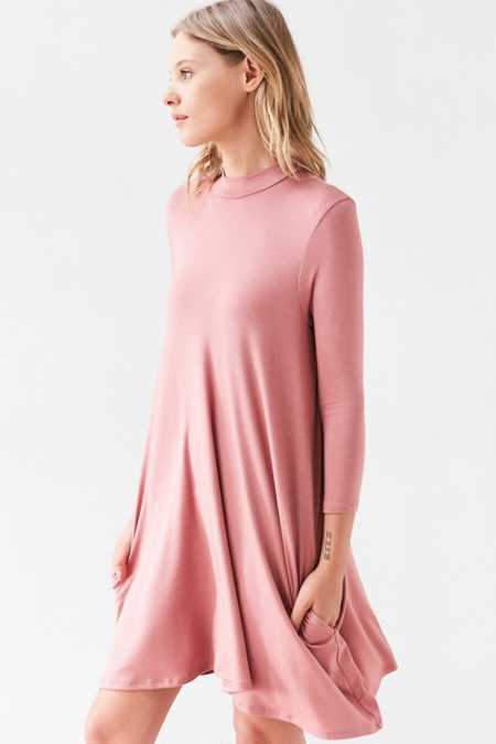 Silence + Noise Knit Mock-Neck Swing Mini Dress