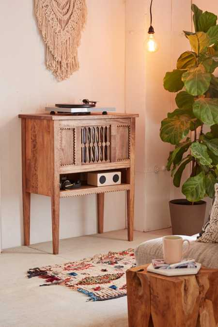 wood media storage console