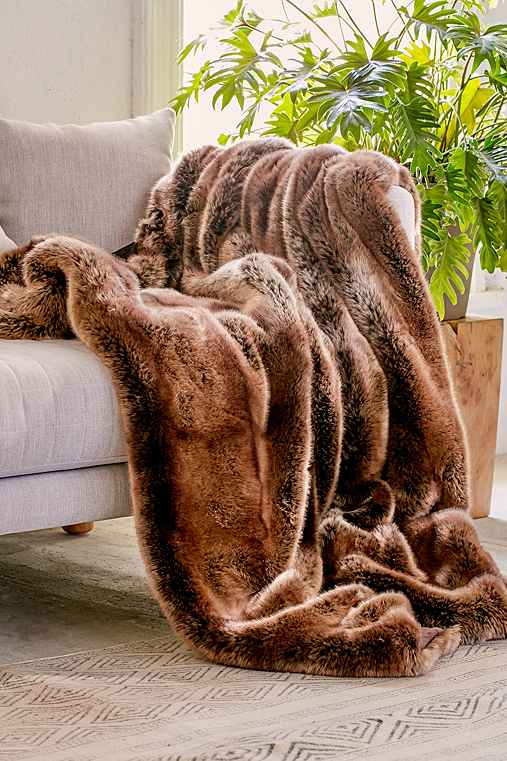 Faux Puma Fur Throw Blanket,BROWN,ONE SIZE