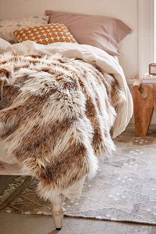 Faux Russian Lynx Throw Blanket,NEUTRAL MULTI,ONE SIZE