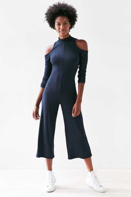 Silence + Noise Mock Neck Cold Shoulder Jumpsuit