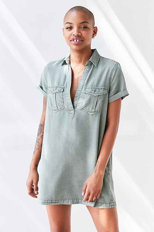 BDG Washed Military Mini Shirt Dress,OLIVE,L