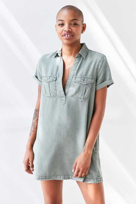 BDG Washed Military Mini Shirt Dress