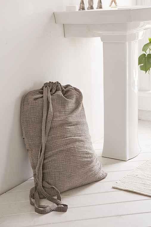Crinkle Gauze Laundry Bag,CHARCOAL,ONE SIZE