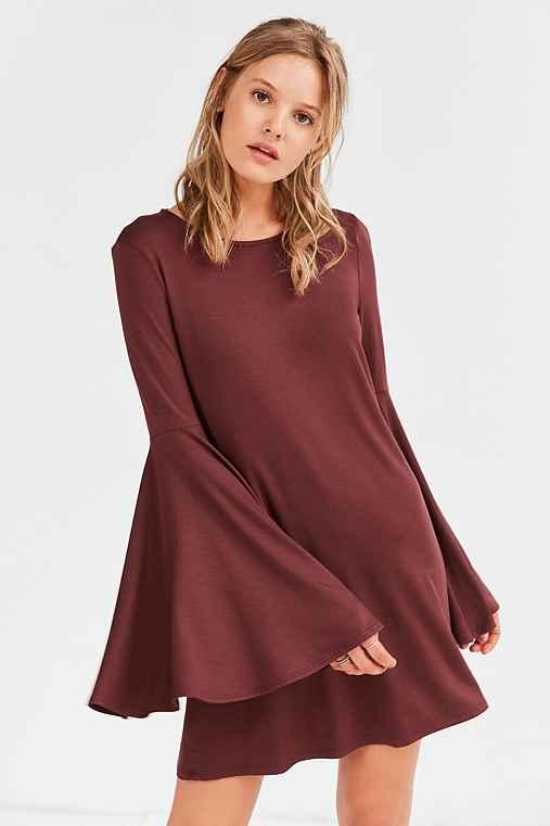 Ecote Knit Bell-Sleeve Mini Dress,MAROON,XS