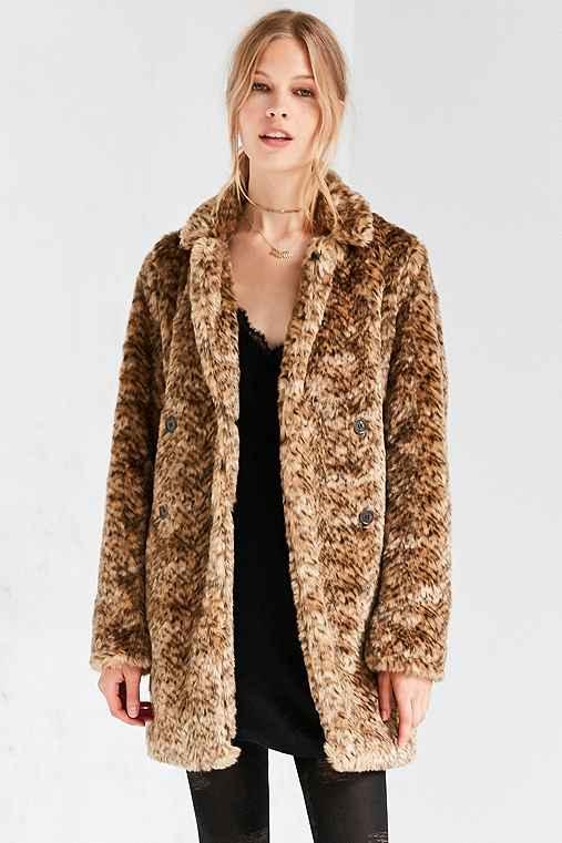 Kimchi Blue Louisa Vegan Leopard Pile Coat,NOVELTY,M