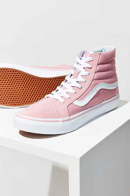 Vans Pink Sk8-Hi Slim Sneaker,PINK,W 9/M 7.5