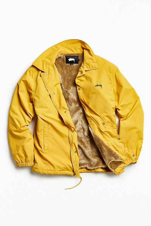 Stussy Smooth Stock Faux Fur Lined Coach Jacket,GOLD,S
