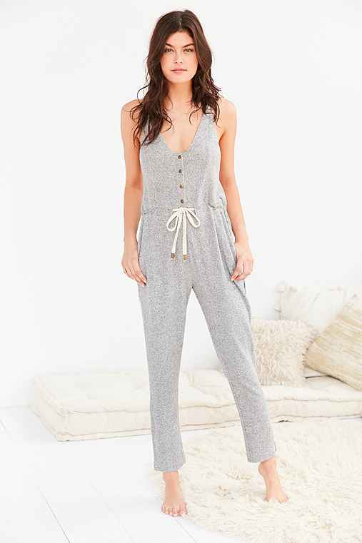 Out From Under Cozy Henley Jumpsuit,GREY,M