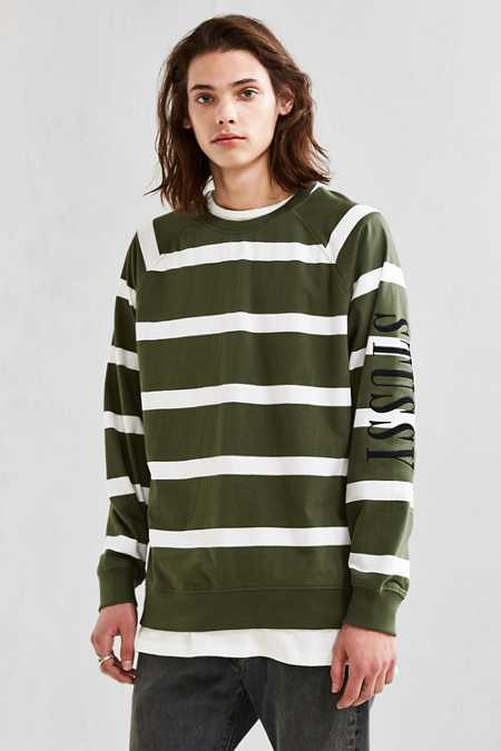 Stussy Striped Crew Neck Sweatshirt